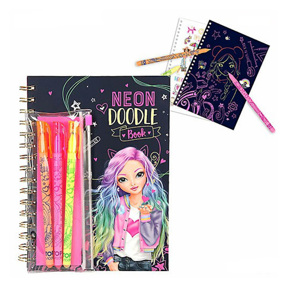 Top Model Neon Doodle Book With.Pen Set