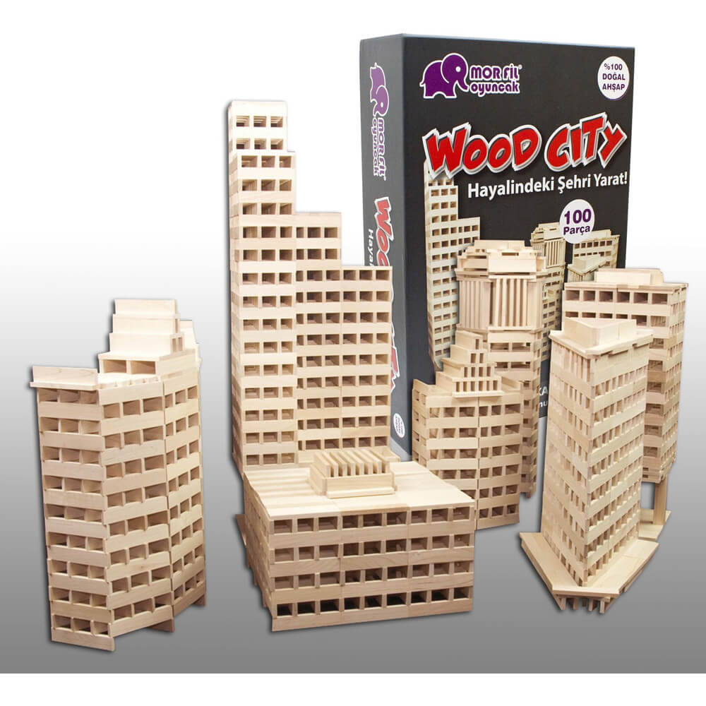 Mor Fil Wood City Ahşap Blok