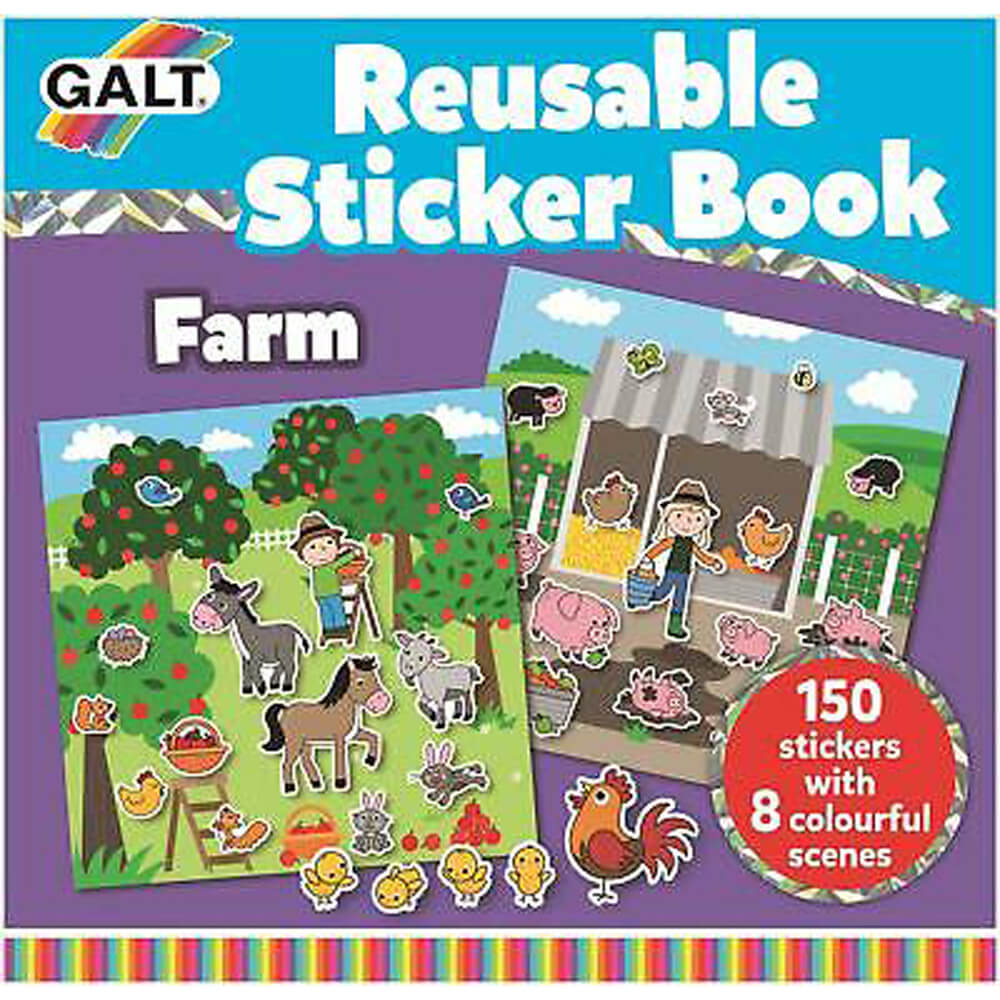 Galt Reusable Sticker Book Farm 3 Yaş+ 1005104